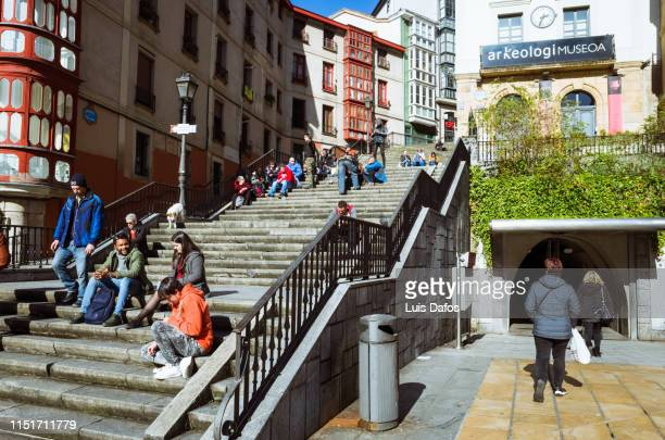 bilbao old town - dafos stock photos and pictures