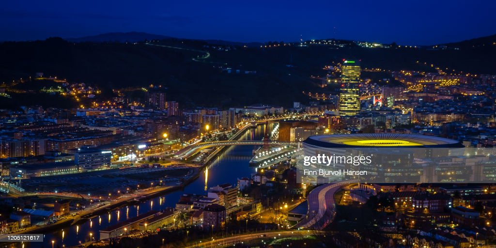 Bilbao photographed from abowe at night : Stock Photo