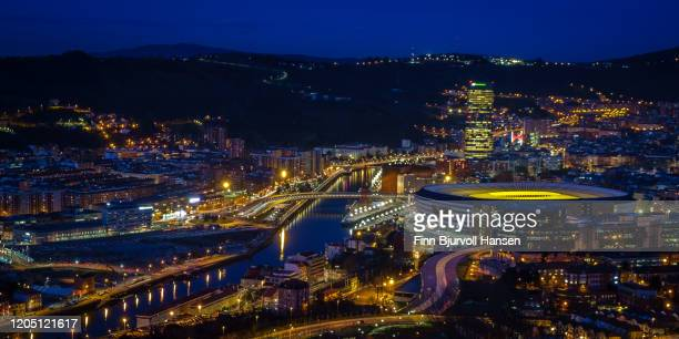 bilbao photographed from abowe at night - finn bjurvoll stock pictures, royalty-free photos & images