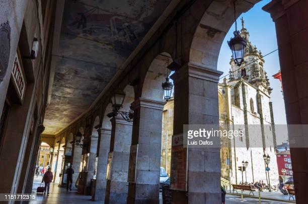bilbao, san anton gothic church through colonnade - dafos stock photos and pictures