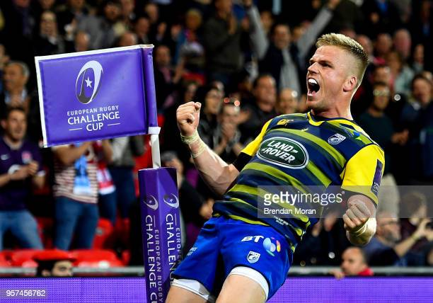 Bilbao Spain 11 May 2018 Gareth Anscombe of Cardiff Blues celebrates at the final whistle of the European Rugby Challenge Cup Final match between...