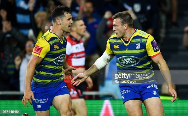 Bilbao Spain 11 May 2018 Garyn Smith of Cardiff Blues celebrate with Tomos Williams right after scoring his side's second try during the European...