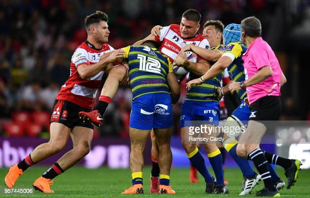 Bilbao Spain 11 May 2018 Jake Polledri of Gloucester Rugby is tackled by Willis Halaholo of Cardiff Blues during the European Rugby Challenge Cup...