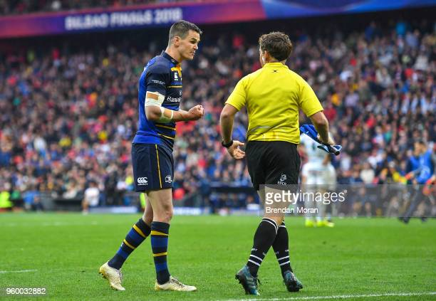 Bilbao Spain 12 May 2018 Jonathan Sexton of Leinster speaks to touch judge JP Doyle during the European Rugby Champions Cup Final match between...
