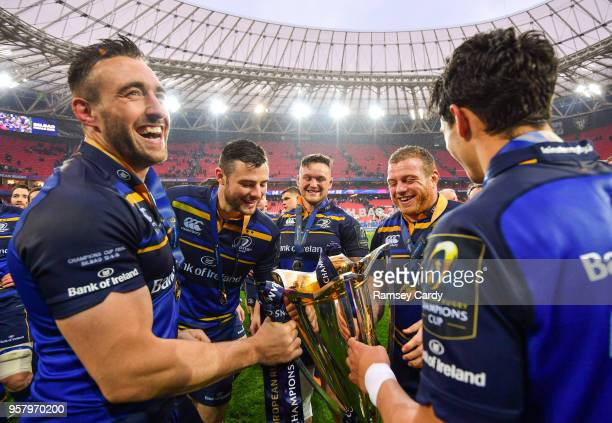 Bilbao Spain 12 May 2018 Leinster's Jack Conan Robbie Henshaw Andrew Porter Sean Cronin and Joey Carbery following their victory in the European...