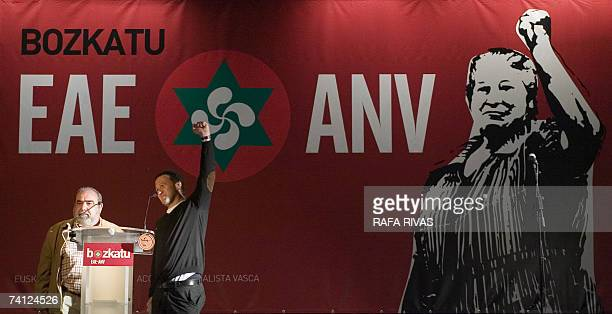 Action Nationalist Basque party President and General Secretary Kepa Bereziartua and Antxon Gomez speak during local election campaigning in the...