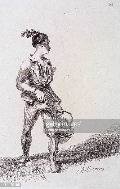 'Bilberries' 1819 A bilberry seller holding a basket and a jug presumably for measuring out a portion of berries From Cries of London 1819