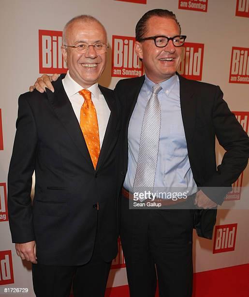 Bild tabloid newspaper editorinchief Kai Diekmann and Turkish newspaper Hurriyet editorial writer Ertugrul Ozkok attend the Bild Summer Party on June...