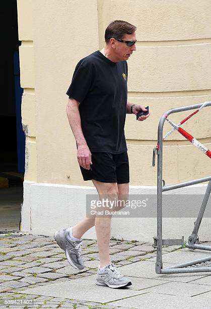 Bilderberg conference participant David H. Petraeus sighted jogging outside the Hotel Taschenbergpalais on Saturday afternoon, June 11, 2016 in...