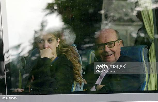 Bilderberg conference participant Ulrik Federspiel sighted on a tourbus outside the Hotel Taschenbergpalais on Saturday afternoon June 11 2016 in...