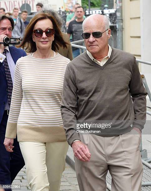 Bilderberg conference participants MarieJosee Kravis and Henry R Kravis sighted walking outside the Hotel Taschenbergpalais on Saturday afternoon...
