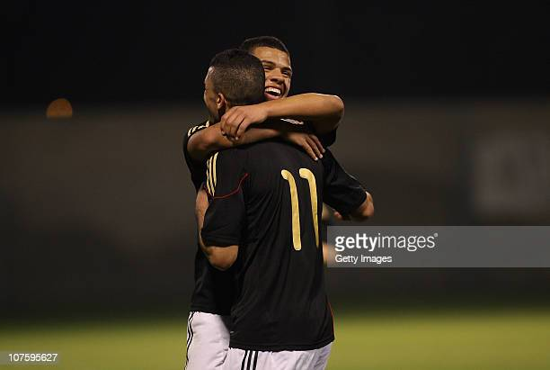 Bildirci Murat of Germany celebrates after scoring a goal during the U18 international friendly match between Israel and Germany on December 14 2010...