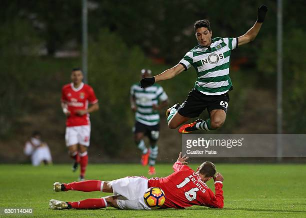 Bilel Aouacheria of Sporting CP B with Branimir Kalaica of SL Benfica B in action during the Segunda Liga match between SL Benfica B and Sporting CP...