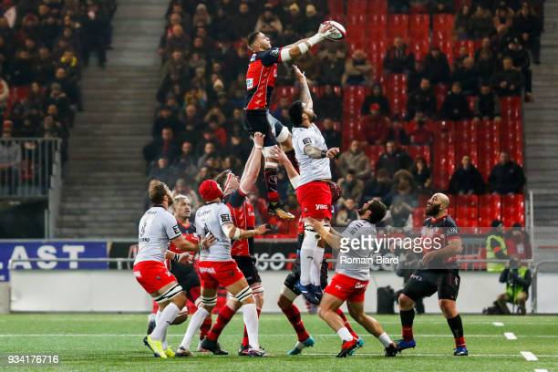 Bilel Taieb of Oyonnax and Romain Taofifenua of Toulon during the Top 14 match between Oyonnax and Toulon at on March 17 2018 in Oyonnax France