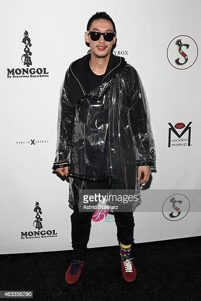Bilguun poses backstage at the Mongol fashion show during Mercedes-Benz Fashion Week Fall 2015 at The Theatre at Lincoln Center on February 13, 2015...