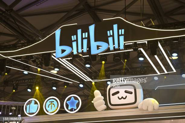 Bilibili stand is pictured during the 19th China Digital Entertainment Expo & Conference is held at Shanghai New International Expo Centre on July...
