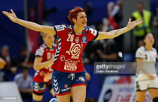 Biljana Filipovic of Serbia celebrates after scoring a goal during the Women's European Handball Championship 2012 semifinal match between Serbia and...