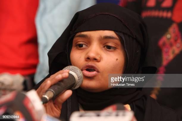 Bilkis Bano a gangrape survivor from the 2002 Gujarat riots adressing media at Press Club of India in New Delhi