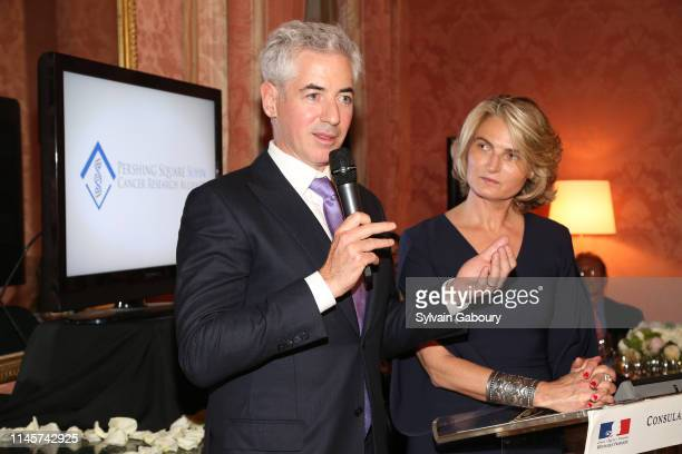 Bill Ackman and Olivia Flatto on stage at 2019 Pershing Square Sohn Prize Dinner at Consulate General of France on May 22, 2019 in New York City.
