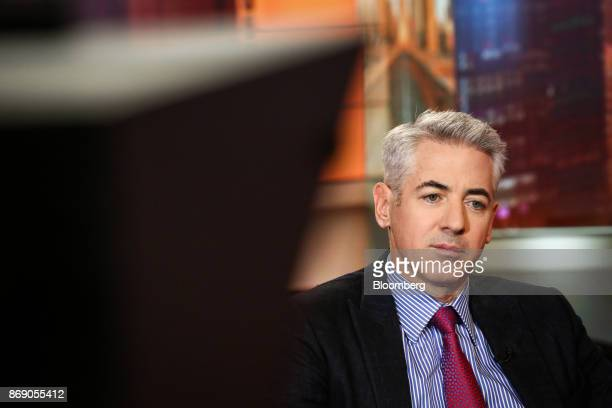 Bill Ackman, chief executive officer of Pershing Square Capital Management LP, listens during a Bloomberg Television interview in New York, U.S., on...