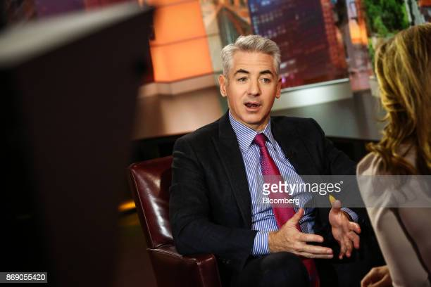 Bill Ackman, chief executive officer of Pershing Square Capital Management LP, speaks during a Bloomberg Television interview in New York, U.S., on...
