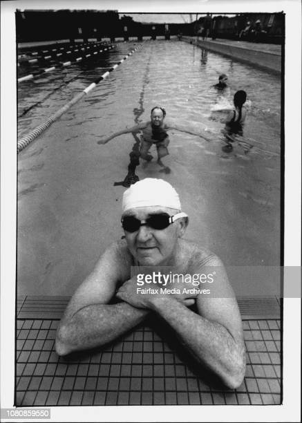 Bill Amundsen at the boy Charlton Pool with Ray Argu who are against the pools Privatization January 20 1993
