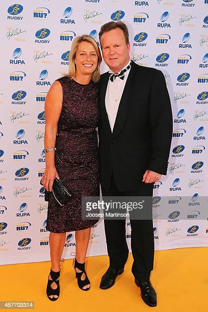 Bill and Belinda Pulver arrive ahead of the 2014 John Eales Medal at Royal Randwick Racecourse on October 23 2014 in Sydney Australia