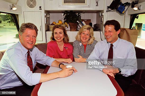 Bill and Hillary Clinton pose with Al and Tipper Gore on their busy Mississippi River campaign trail