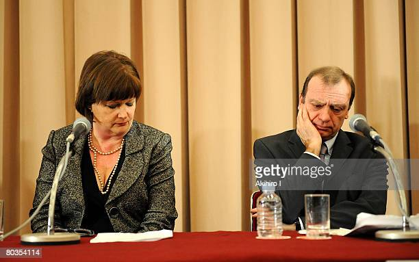 Bill and Julia Hawker, the parents of Lindsay Ann Hawker, attend a press conference at Japan National Press Club on March 24, 2008 in Tokyo, Japan....
