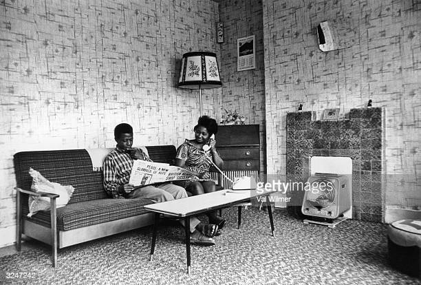 Bill and Mary Wilson, two students from Sierra Leone, relaxing at their home in Balham, south London.