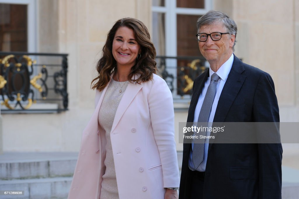 French President Receives Bill Gates, the co-Founder of the Microsoft Company At Elysee Palace : News Photo