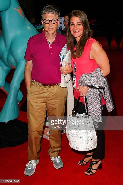 Bill and Melinda Gates arrive at the Longines Los Angeles Masters at Los Angeles Convention Center on September 27 2014 in Los Angeles California