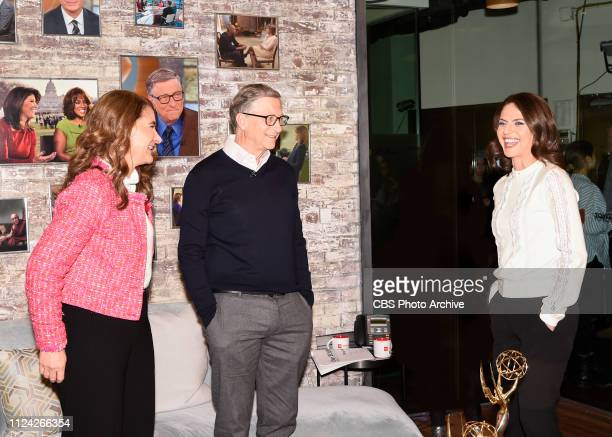 Bill and Melinda Gates in the CBS Toyota Greenroom with CoHost Bianna Golodryga before their appearance on CBS THIS MORNING Feb 12 2019