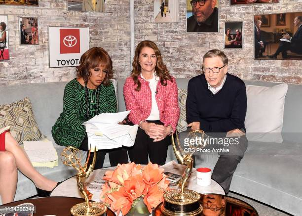 Bill and Melinda Gates in the CBS Toyota Greenroom with CoHost Gayle King before their appearance on CBS THIS MORNING Feb 12 2019