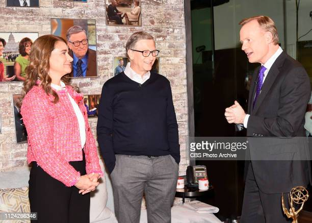 Bill and Melinda Gates in the CBS Toyota Greenroom with CoHost John Dickerson before their appearance on CBS THIS MORNING Feb 12 2019