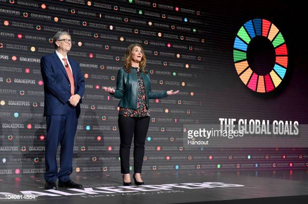 Bill and Melinda Gates speak onstage during the Goalkeepers 2018 event at Jazz at Lincoln Center on September 26 2018 in New York City Goalkeepers is...