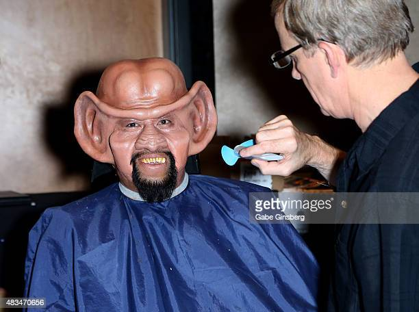 Bill Arucan of California gets makeup done by makeup artist Tim Vittetoe during the 14th annual official Star Trek convention at the Rio Hotel Casino...
