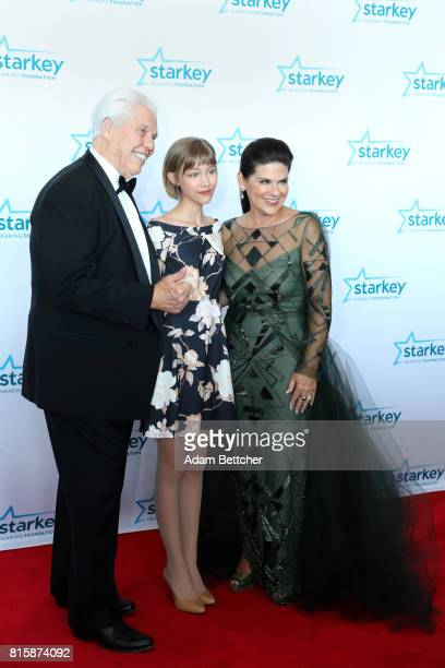 Bill Austin Grace VanderWaal and Tani Austin pose on the red carpet at the 2017 Starkey Hearing Foundation So the World May Hear Awards Gala at the...