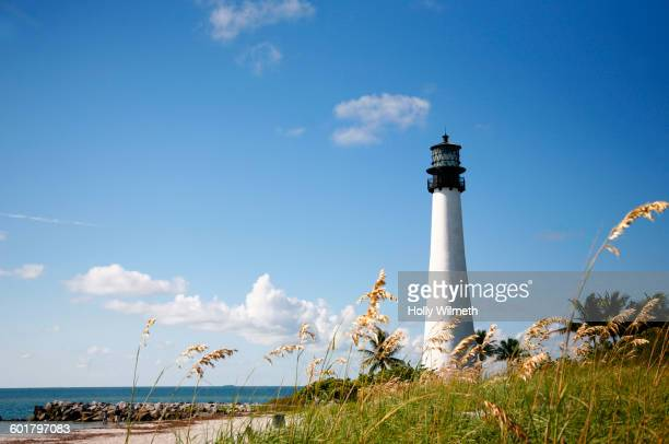 Bill Baggs State Park Lighthouse on beach, Miami, Florida, United States