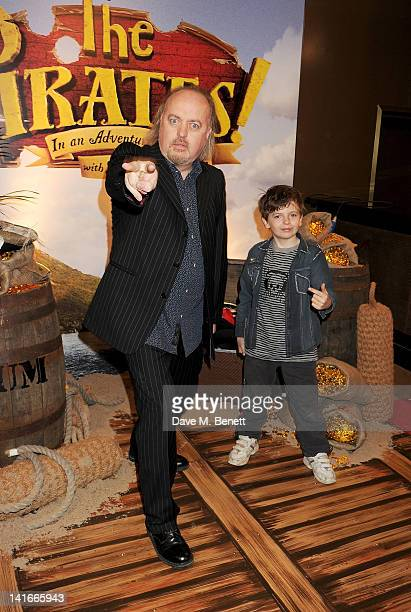 Bill Bailey and son Dax arrive at the UK Premiere of 'The Pirates! In An Adventure With Scientists' at The Mayfair Hotel on March 21, 2012 in London,...