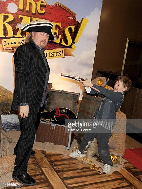 Bill Bailey and son Dax arrive at the UK Premiere of 'The Pirates In An Adventure With Scientists' at The Mayfair Hotel on March 21 2012 in London...