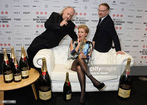 Bill Bailey, Emma Thompson, winner of the Richard Harris Award, and Jared Harris pose at The Moet British Independent Film Awards 2014 at Old...