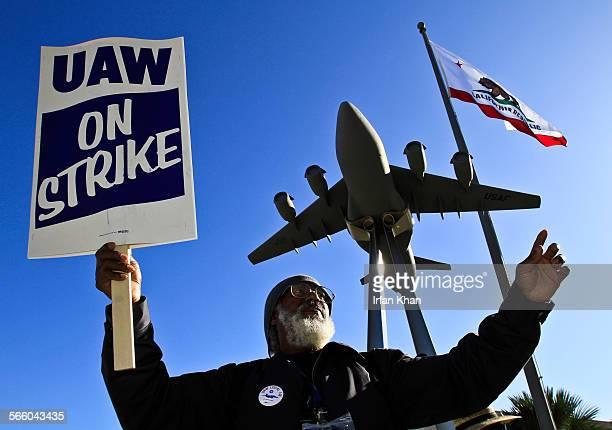 Bill Barkley Jr who has been working for last 42 years as electrician at Boeing protests at Boeing's C17 plant in Long Beach Boeing employees who...
