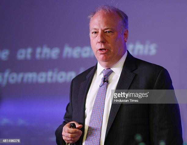 Bill Barney Chief Executive Officer of RCom's India addresses to the Media at Reliance Center Maharaja Ranjit Singh Marg on July 21 2015 in New Delhi...