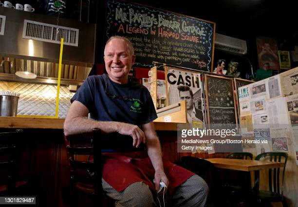 """Bill Bartley, owner of Mr. Bartley""""u2019s Burger Cottage in Harvard Square on February 12, 2021 in Cambridge, Massachusetts."""