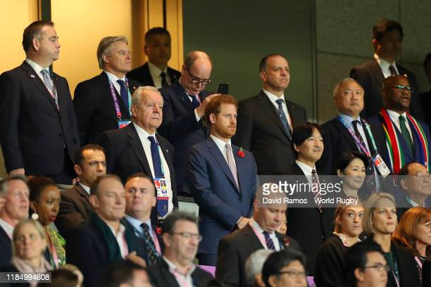 Bill Beaumont, Chairman of World Rugby, Prince Harry, Duke of Sussex, Fumihito, Crown Prince Akishino and Kiko, Crown Princess Akishino are seen in...