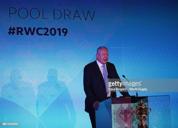 Bill Beaumont Chairman of World Rugby via Getty Images addresses the audience during the Rugby World Cup 2019 Pool Draw at the Kyoto State Guest...