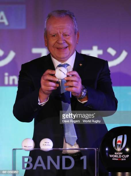 Bill Beaumont Chairman of World Rugby via Getty Images draws England during the Rugby World Cup 2019 Pool Draw at the Kyoto State Guest House on May...