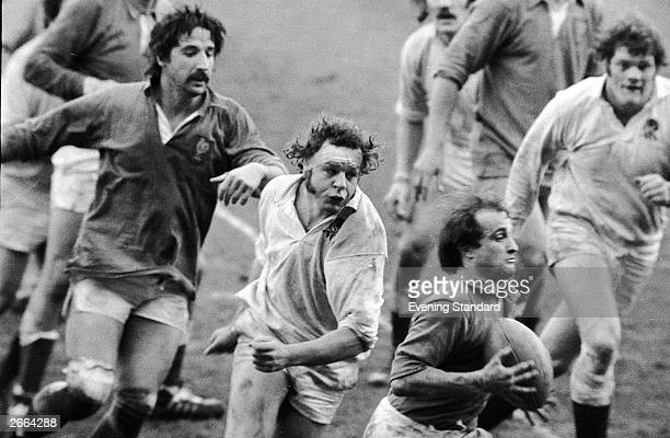 Bill Beaumont in action for England during a rugby international against France