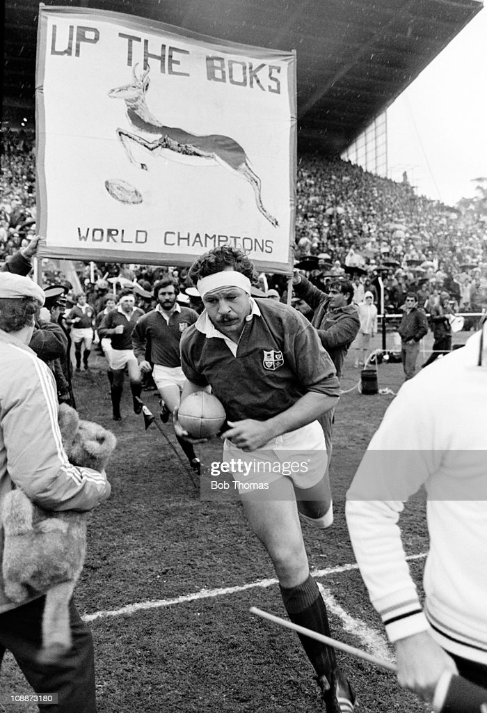 Bill Beaumont of the British Lions runs onto the field prior to the 3rd Test Match against South Africa during the Lions rugby union tour of South Africa in Port Elizabeth on 28th June 1980. The Springboks won 12-10.